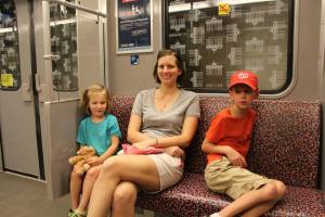 The kids and I on a Berlin subway train.